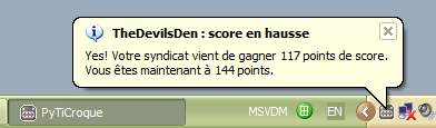 Progression du score syndical